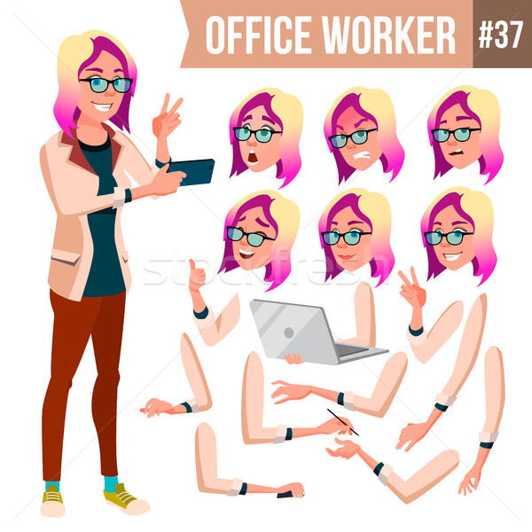 Office Worker Vector. Woman. Professional Officer, Clerk. Businessman Female. Lady Face Emotions, Va Stock photo © pikepicture