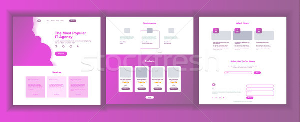 Main Web Page Design Vector. Website Business Concept. Landing Template. Working Team. Cloud Room. C Stock photo © pikepicture