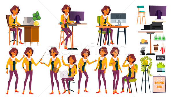 Office Worker Vector. Woman. Modern Employee, Laborer. Poses. Business Worker. Office. Face Emotions Stock photo © pikepicture