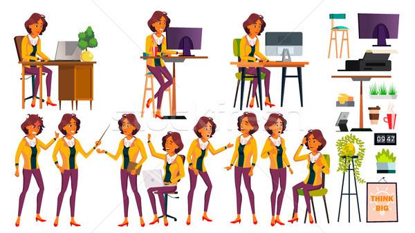 Kantoormedewerker vector vrouw moderne werknemer business Stockfoto © pikepicture