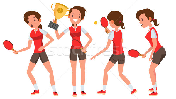 Table Tennis Young Woman Player Vector. Twists The Ball. Ping Pong. Girl Athlete. Flat Cartoon Illus Stock photo © pikepicture