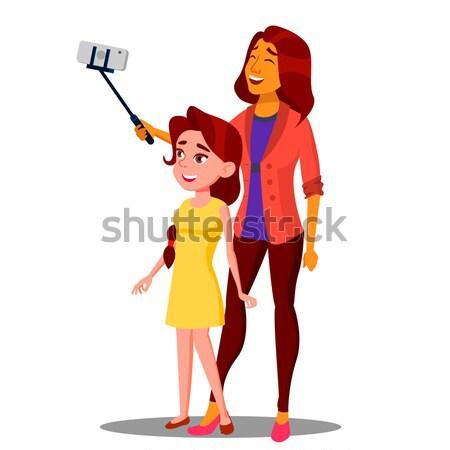 Muchacha adolescente establecer vector positivo persona postal Foto stock © pikepicture