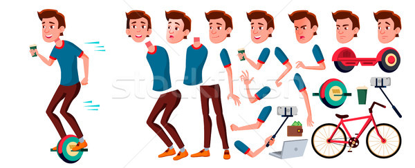 Teen Boy Vector. Animation Creation Set. Face Emotions, Gestures. Face. Children. Animated. For Adve Stock photo © pikepicture