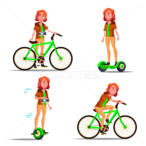 Teen Girl Riding Hoverboard, Bicycle Vector. City Outdoor Sport Activity. Gyro Scooter, Bike. Eco Fr Stock photo © pikepicture