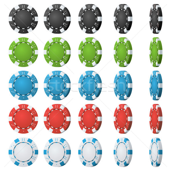 Poker Chips Vector. Flip Different Angles. Set Classic Colored Poker Chips Icon Isolated On White. W Stock photo © pikepicture