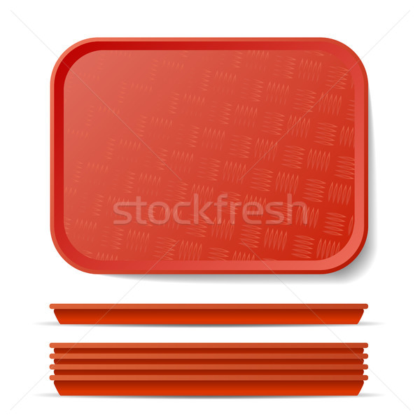 Red Plastic Tray Salver Vector. Classic Rectangular Red Plastic Tray, Plate With Handles. Top View.  Stock photo © pikepicture