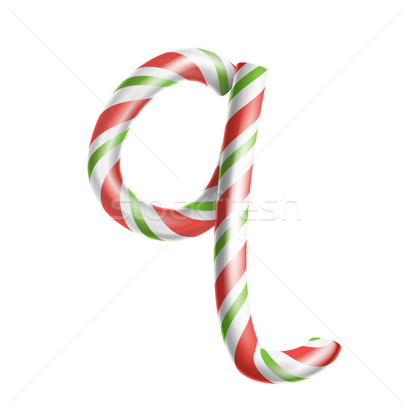 Letter Q Vector. 3D Realistic Candy Cane Alphabet Symbol In Christmas Colours. New Year Letter Textu Stock photo © pikepicture