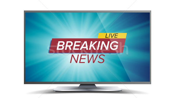Breaking News Vector. Blue TV Screen. World Global News Concept. Isolated Illustration Stock photo © pikepicture