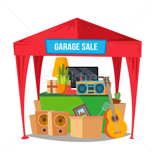 Garage Sale Vector. Sale Items. Preparing A Yard Sale. Isolated Flat Cartoon Character Illustration Stock photo © pikepicture