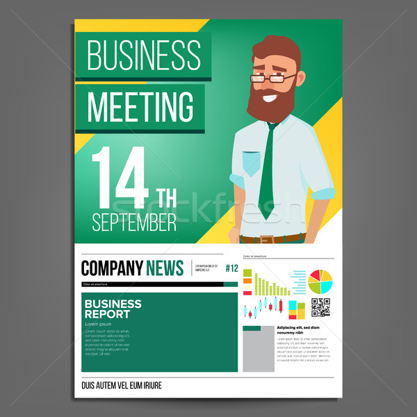 Business Meeting Poster Vector. Businessman. Layout Template. Presentation Concept. Green, Yellow Co Stock photo © pikepicture