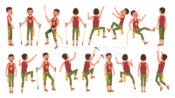 Rock Climber Boy Set Vector. Rock Climbing Sport. Sport And Leisure Activity Concept. Isolated On Wh Stock photo © pikepicture