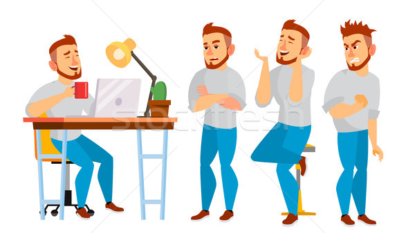 Business Character Vector. Working Boy, Man. Environment Process In Office Or Creative Studio. Full  Stock photo © pikepicture