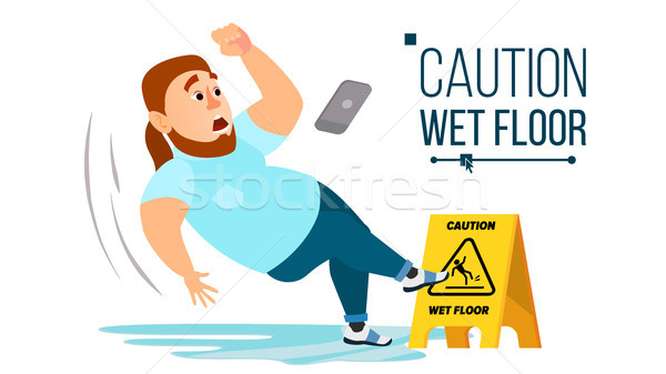 Man Slips On Wet Floor Vector. Modern Businessman. Situation In Office. Danger Sign. Clean Wet Floor Stock photo © pikepicture