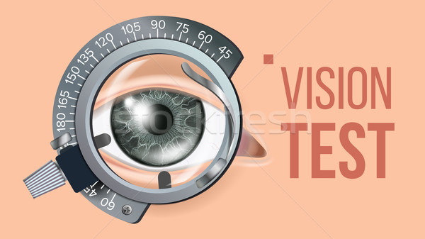 Eye Test Banner Vector. Vision Correction. Optometrist Check. Trail Frame. Exam Illustration Stock photo © pikepicture