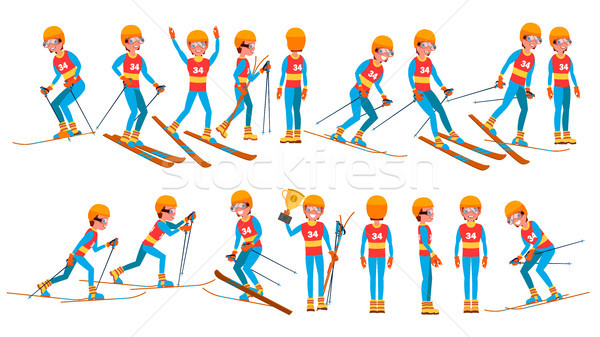 Skiing Male Player Vector. Winter Games. Competing In Championship. Playing In Different Poses. Man  Stock photo © pikepicture