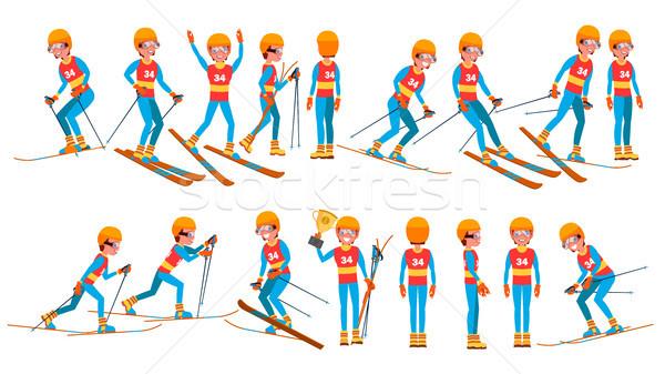Esqui masculino jogador vetor inverno jogos Foto stock © pikepicture