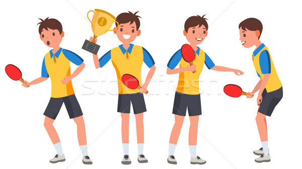 Table Tennis Young Man Player Vector. Man. Sports Concept. Stylized Player. Flat Athlete Cartoon Ill Stock photo © pikepicture
