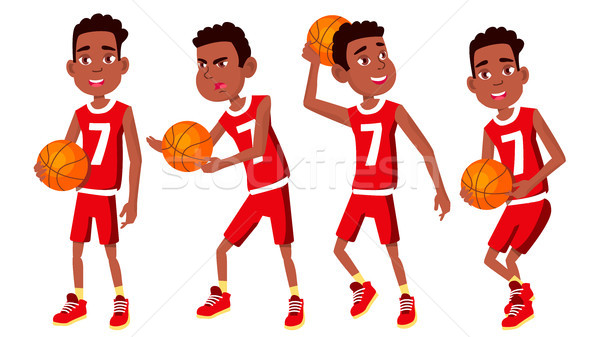 Basketball Player Child Set Vector. Different Poses. Leads The Ball. Sport Game Competition. Sport.  Stock photo © pikepicture