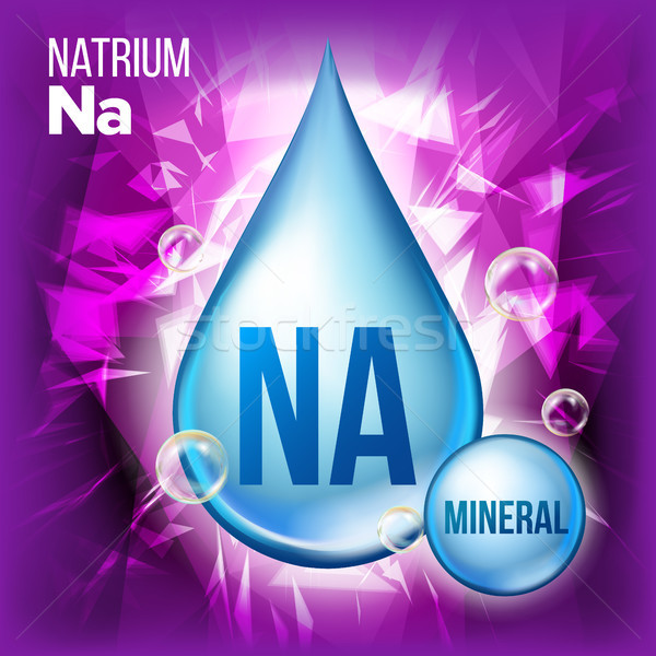 Na Natrium Vector. Mineral Blue Drop Icon. Vitamin Liquid Droplet Icon. Substance For Beauty, Cosmet Stock photo © pikepicture