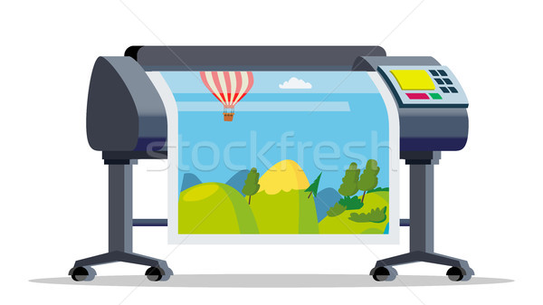 Plotter, Printer Vector. Large Format Multifunction Printer. Polygraphy, Printshop Service. Isolated Stock photo © pikepicture
