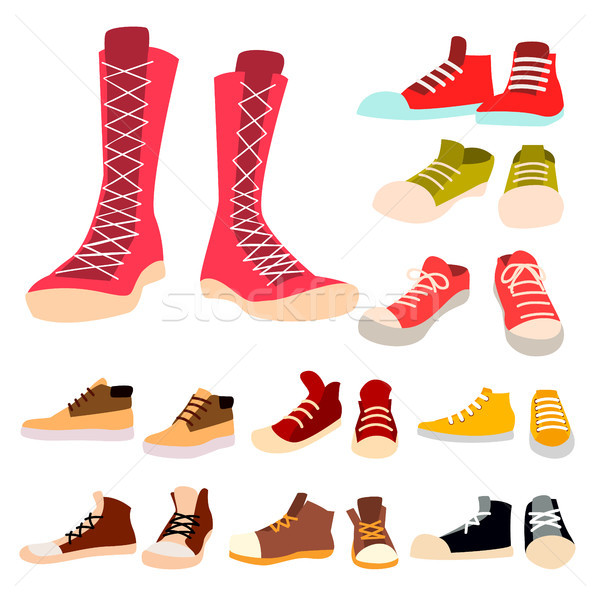 Sneakers Set Vector. Pair Of Casual New Sport Footwear. Foot Wear, Shoe, Shoelace. For Running, Spor Stock photo © pikepicture