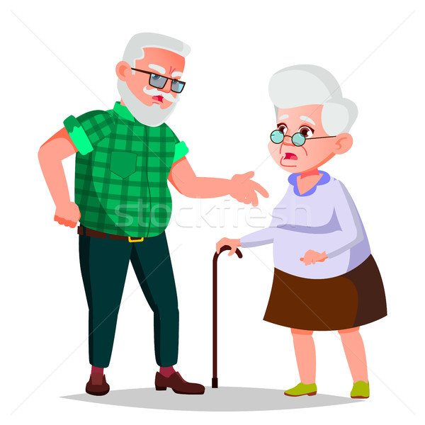 Elderly Couple Vector. Grandfather And Grandmother. Face Emotions. Happy People Together. Isolated F Stock photo © pikepicture
