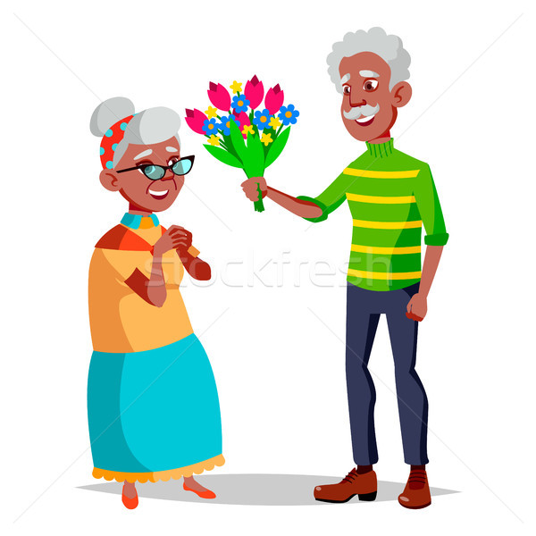 Elderly Couple Vector. Modern Grandparents. Feeling Happy. Aged. Black, Afro American. Isolated Flat Stock photo © pikepicture