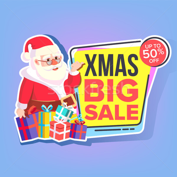 Christmas Big Sale Sticker Vector. Santa Claus. Template Brochure. Special Offer Templates. Black Fr Stock photo © pikepicture