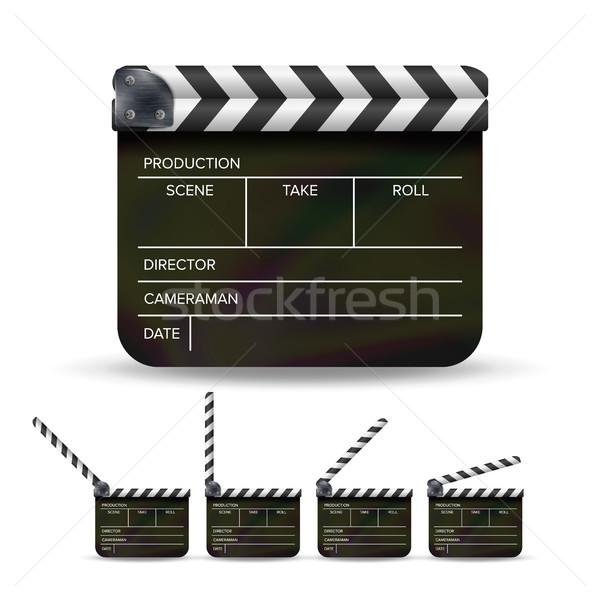 Tábla vektor fekete mozi izolált fehér Stock fotó © pikepicture