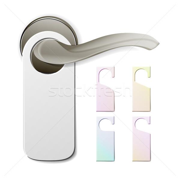 Metal Door Handle Lock With Hanger. Hostel, Hotel Hanger Sign. Door Knob. Do Not Disturb. Vector Ill Stock photo © pikepicture
