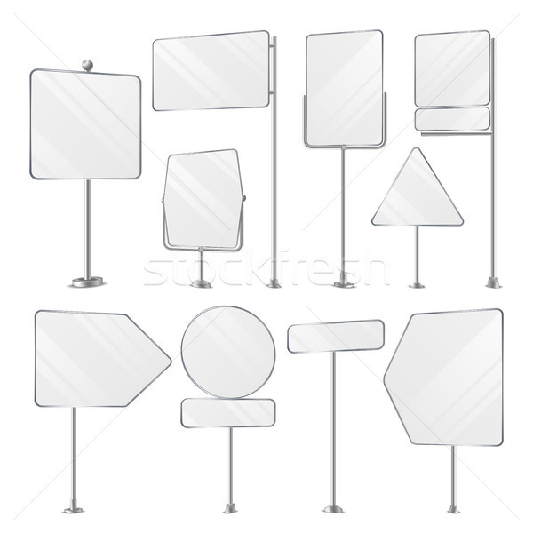 Stock photo: Blank White Outdoor Holder Stands Set Vector.