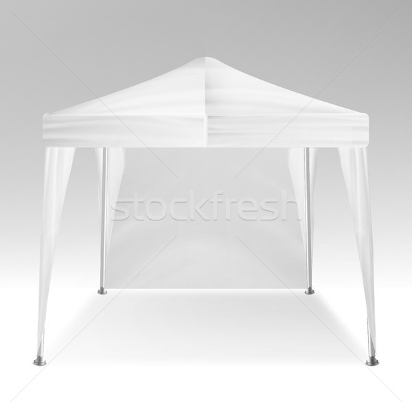 White Folding Tent Mockup Vector. Promotional Outdoor Event Trade Show Pop-Up Tent Mobile Marquee, T Stock photo © pikepicture