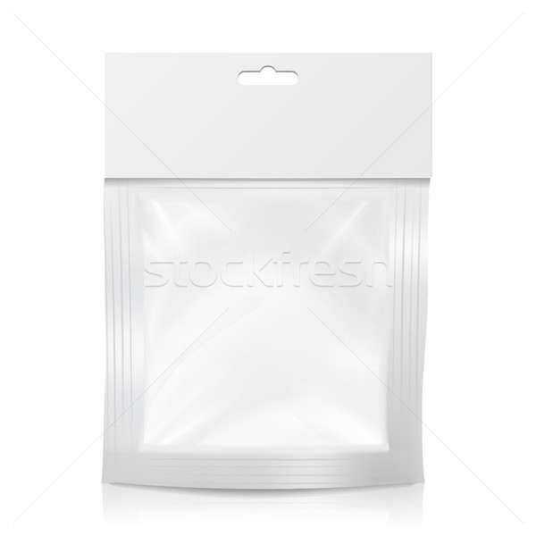 Plastic Pocket Vector Blank. Realistic Mock Up Template Of Plastic Pocket Bag. Clean Hang Slot. Pack Stock photo © pikepicture