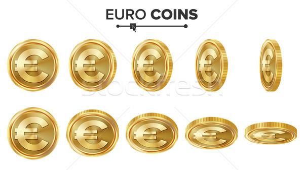 Stok fotoğraf: Euro · 3D · altın · madeni · vektör · ayarlamak · gerçekçi