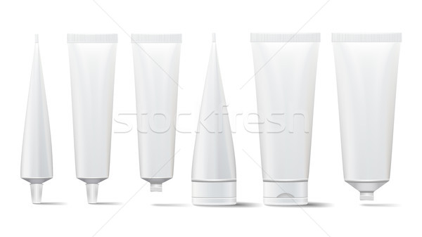 Cosmetic Tube Set. Vector Mock Up. Cosmetic, Cream, Tooth Paste, Glue White Plastic Tubes Open And C Stock photo © pikepicture