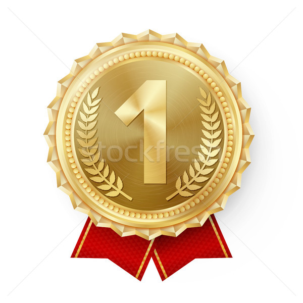 Gold Medal Vector. Golden 1st Place Badge. Sport Game Golden Challenge Award. Red Ribbon. Isolated.  Stock photo © pikepicture