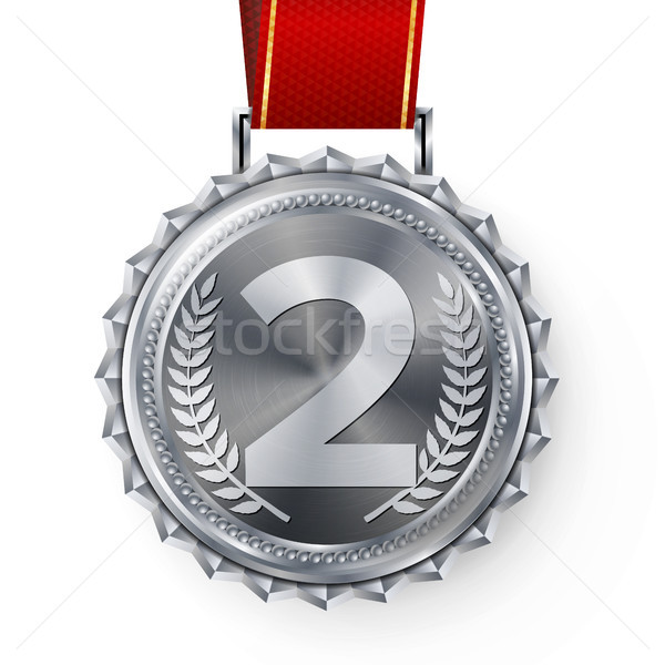 Silver Medal Vector. Silver 2nd Place Badge. Sport Game Silver Challenge Award. Red Ribbon. Isolated Stock photo © pikepicture