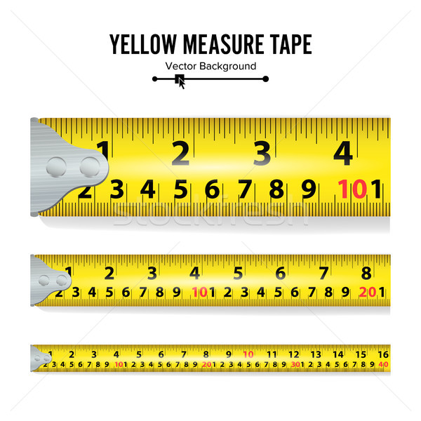 Yellow Measure Tape On White Background Vector Stock photo © pikepicture
