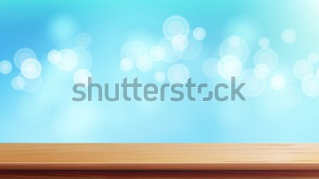 Wood Table Top Vector. Brown Bokeh Abstract Natural Background. Close Up Top Wooden Table. Decoratio Stock photo © pikepicture