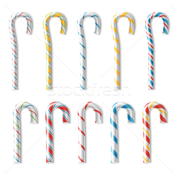 Realistic Candy Cane Vector. Classic Stick Christmas Candy Cane. Set Isolated On White. Top View. Go Stock photo © pikepicture