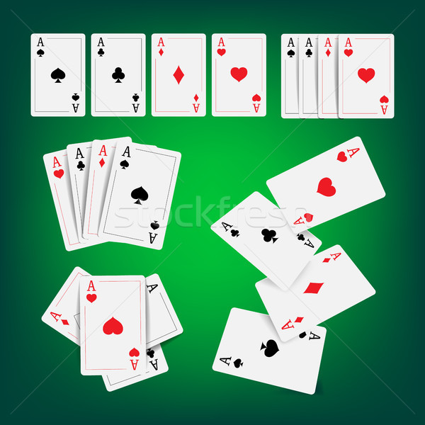 Casino Poker Cards Vector. Classic Playing Gambling Cards Realistic Illustration Stock photo © pikepicture