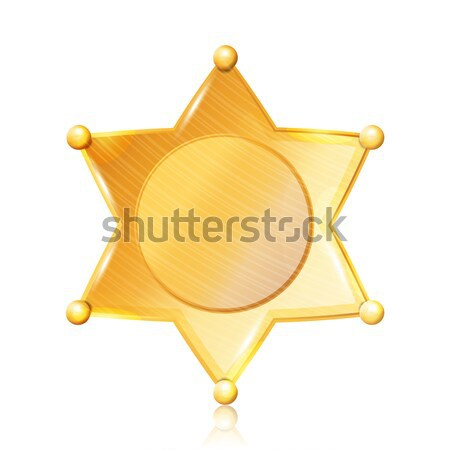 Sheriff Badge Star Vector. Gold Symbol. Municipal City Law Enforcement Department. Isolated On Black Stock photo © pikepicture