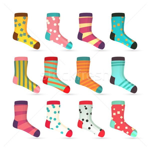 Kind sokken iconen vector kleurrijk ingesteld Stockfoto © pikepicture