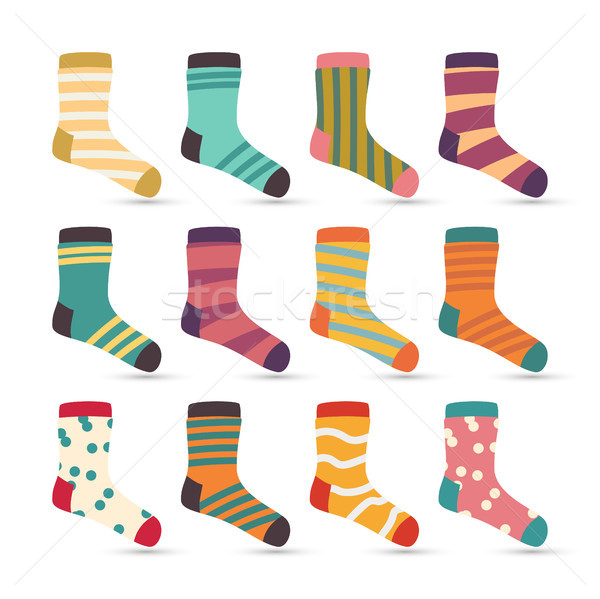 Child Socks Icons Vector. Colorful Cartoon Cute Stylized. Kids Wear Set Stock photo © pikepicture