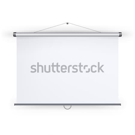 Meeting Projector Screen Vector. Blank White Board To Showcase Your Projects, Presentation Display I Stock photo © pikepicture
