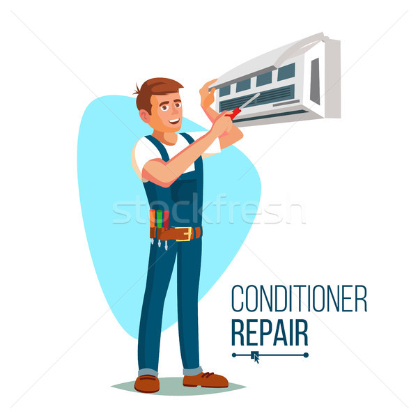 Air Conditioner Repair Worker Vector. Young Happy Male Technician Gesturing. Isolated Flat Cartoon C Stock photo © pikepicture