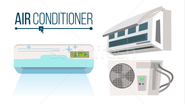 Air Conditioner Set Vector. Different Types Office, Home Conditioner System. Indoors, Outdoors Carto Stock photo © pikepicture