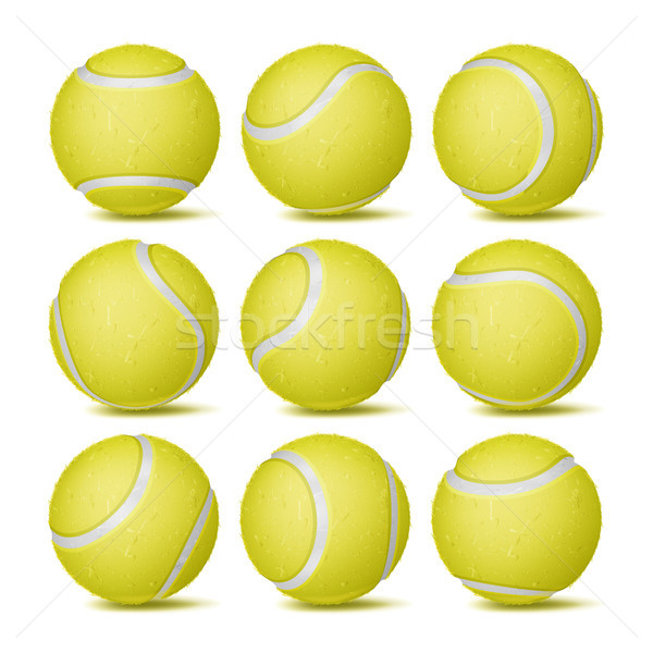 Gerçekçi tenis topu ayarlamak vektör klasik sarı Stok fotoğraf © pikepicture
