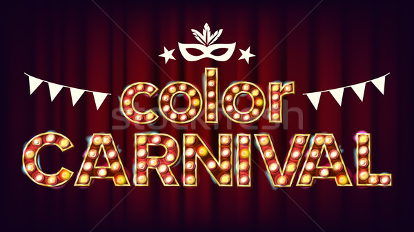 Color Carnival Poster Vector. Carnival 3D Glowing Element. For Masquerade Advertising Design. Retro  Stock photo © pikepicture