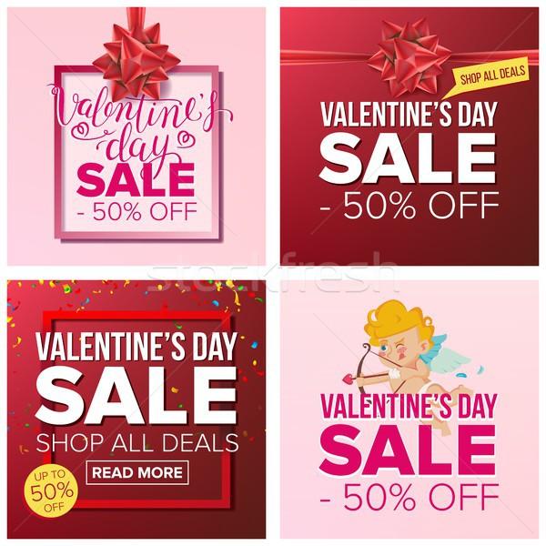Valentine s Day Sale Banner Set Vector. Cartoon Business Brochure Illustration. February 14 Mega Sal Stock photo © pikepicture